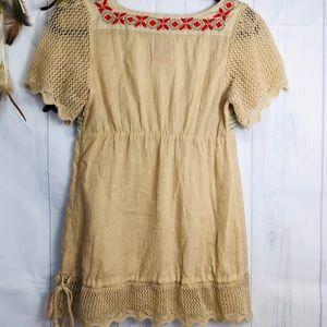 Free People Tops - Free People Vintage Tan and Embroidered Tunic
